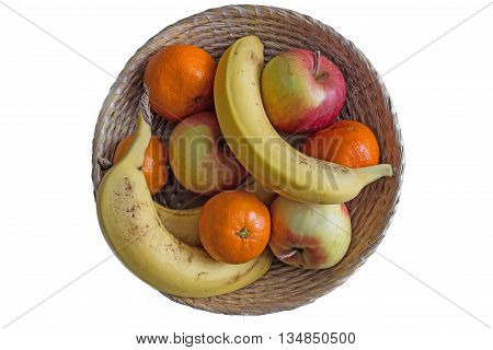 fruit for breakfast in punnet on white background