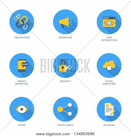 Set of FlatDesign SEO Icons With Long Shadow. Link Building Promotion Code Optimization Security Mobile Marketing Cloud Computing Vision Social Media Blogging. Vector Icons