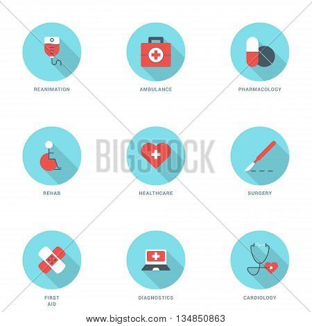 Set of Flat Design Medicine Icons With Long Shadow. Reanimation Ambulance Pharmacology Rehab Healthcare Surgery First Aid Diagnostics Cardiology. Vector Icons