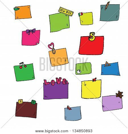 Colorful stickers set. Hand drawn vector stock illustration. Isolated on white background