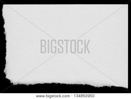 Torn White Paper Corner Scrap Isolated On Black Background