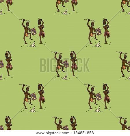 African people dancing around animal skull. Hand drawn vector stock illustraton. Seamless background pattern. Colorful template. Tribal Africa