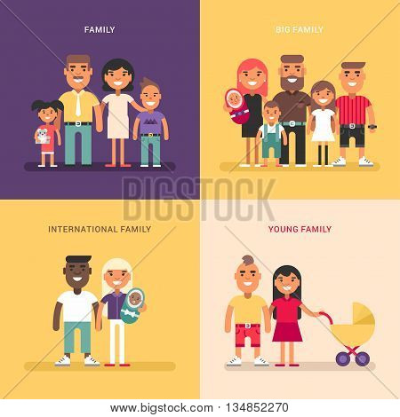 Family concept. Family structure size members. A set of four colored flat vector illustrations. Young big international family.