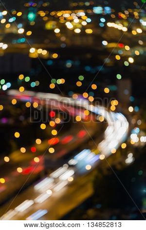 Nights blurred lights, city highway curved, abstract background