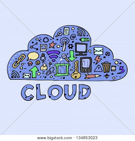 Cloud computing, technology connectivity concept. Flat vector stock illustration