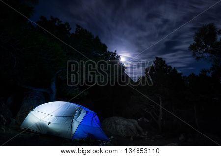 Campsite in the mountains moonlit night. Crimea. Ukraine