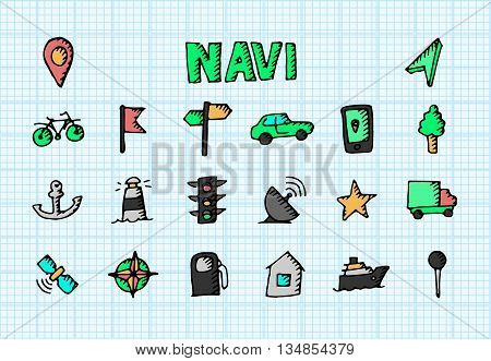 Navigation icons set. Vector stock illustraton. Big collection