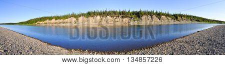 Panoramic landscape of the wild river in the Urals. Polar Ural Komi Republic Russia.