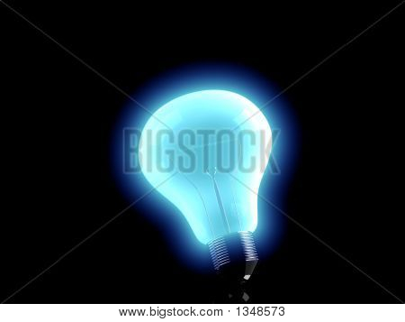 Illuminated Blue Bulb