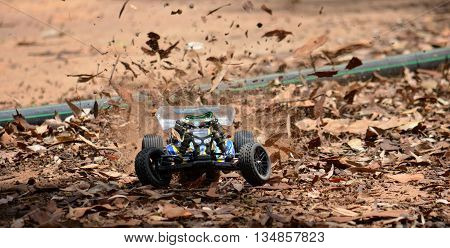 Sydney, Australia - December 14, 2014. Radio controlled buggy car model in race, internal combustion engine on a dry leafy road. (St Ives Showground, Sydney, Australia)