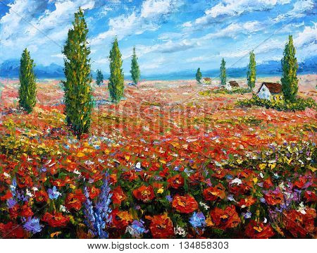 Flower painting Field of red poppies. ORIGINAL oil painting of flowers, beautiful field flowers on canvas.Field red flowers. Modern Impressionism.Impasto artwork. Rural landscape warm flowers art.