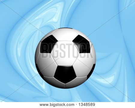 Soccer Ball On Blue Tech Background