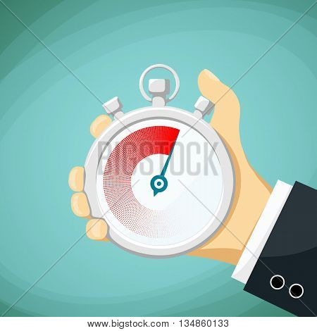 Man holds in his hand a sports stopwatch. Stock Vector cartoon illustration.