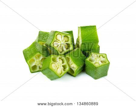 Sliced Okra Isolated On The White Background