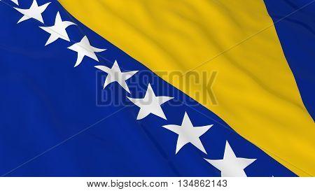 Bosnian Herzegovinan Flag Hd Background - Flag Of Bosnia Herzegovina 3D Illustration