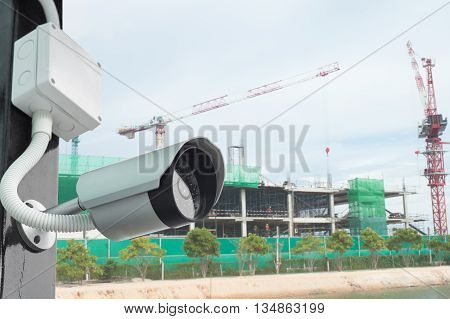 CCTV or security camera  in secure construction site