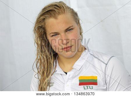 BARCELONA - JUN, 11: Lithuanian swimmer Ruta Meilutyte during the Trophy Ciutat de Barcelona in Sant Andreu Club, June 11, 2016 in Barcelona, Spain