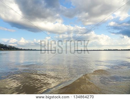 riparian scenery at Mekong river in Cambodia
