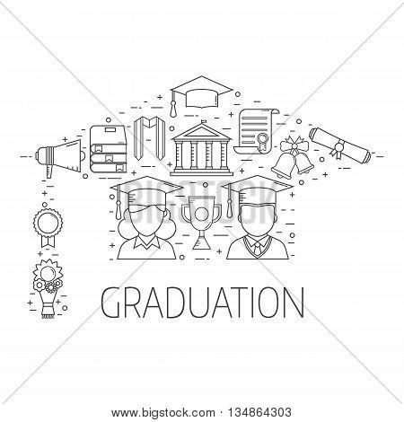 Graduation Postcard Vector Concept