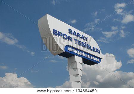 ANKARA/TURKEY-JUNE 5, 2016:  Ankara Great City Municipality's Sport Complex signboard at the Saray region. June 5, 2016-Ankara/Turkey