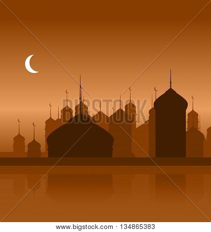 Illustration Ramadan Background with Silhouette Mosque - Vector