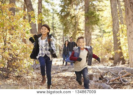 Parents watching their children running in a forest