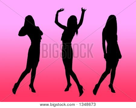 Black Girls Silhouettes In Night Club Lights