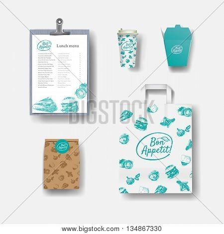 Vector restaurant cafe set: paper coffee cups menu package paper bag. Layout set of corporate identity. Mock up template.