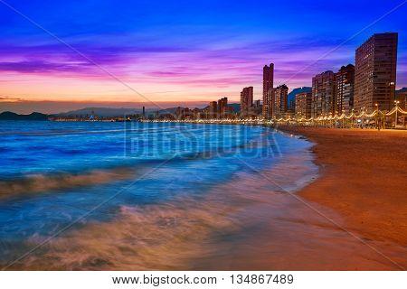 Benidorm skyline at sunset beach in Alicante of Apain