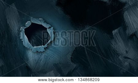 Graphic illustration of burst hole in wall with textured brush strokes