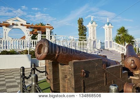 Benidorm old Canon at Mirador del Castillo Mediterranean lookout Alicante Spain