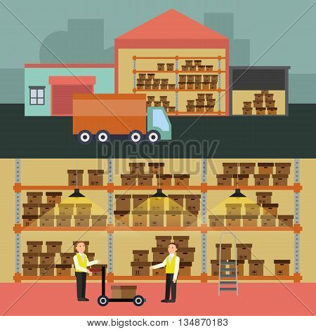 Warehouse banner set with shipping and delivery flat elements Vector illustration EPS10