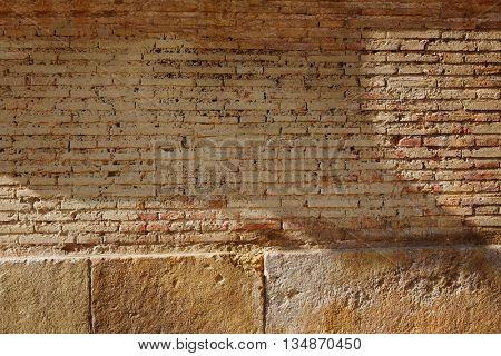 Brickwall bricks wall in Valencia Barrio del Carmen of spain