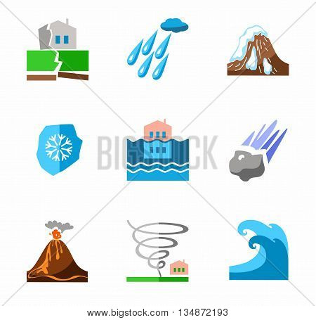 Vector icons of natural disasters and cataclysms. Color, flat image on a white background.