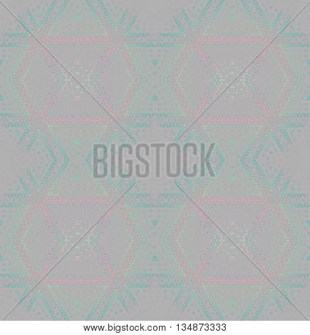 Abstract geometric seamless background. Modern regular diamond pattern in pastel shades. Elements in pink and green shades on light gray, blurred.