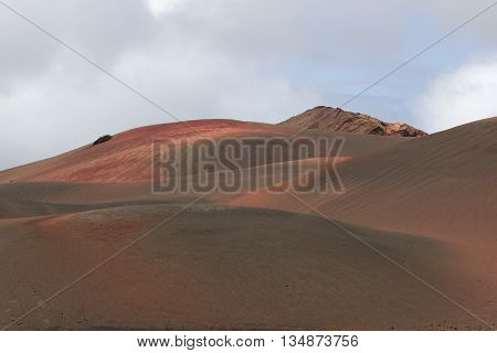 Desert arid stone volcanic landscape in Lanzarote, Canary Islands poster