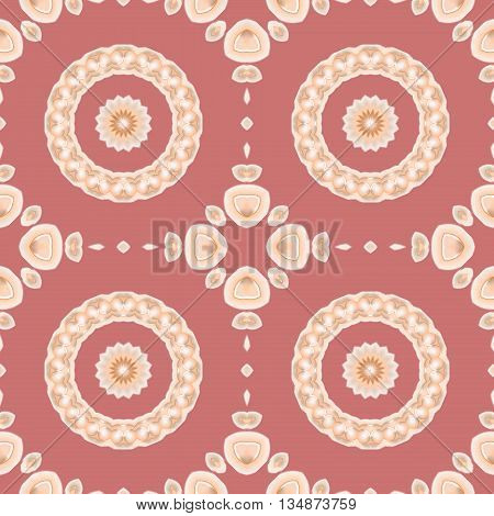Abstract geometric seamless background. Regular concentric circles pattern with floral elements in beige, peach and apricot color on pastel red, conspicuous and dominant.