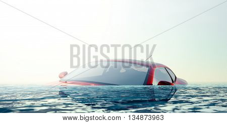 Car floating in flood water - computer generated image