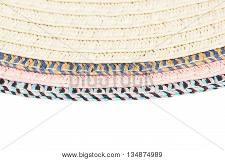 Woven Straw Background Or Texture And Space For Text. Brown Blue  Pink  Yellow Color