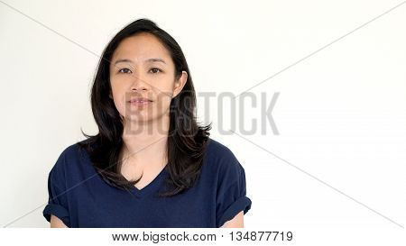 Casual Asian Girl On White Background Smiling Face With Relax Tee