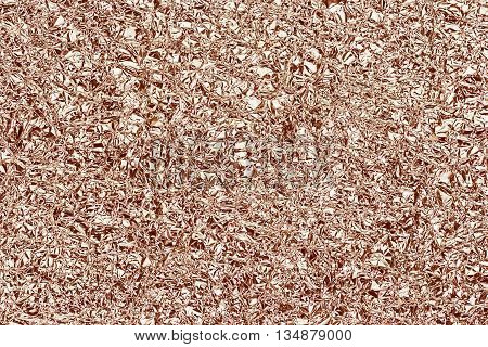 Shiny foil texture for background. Rose gold color. Crease.