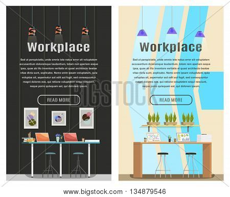 Two banner for web design. Office theme. Workplace. Flat design vector illustration. Vertical banner.