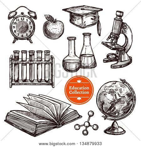 Black and white education hand drawn sketch set with different tools for science and studying on white background isolated vector illustration