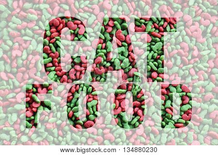 cat food word on cat food texture background