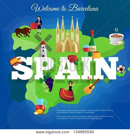 Spain cultural symbols composition poster for travelers with national flag and paella and corrida flat vector illustration