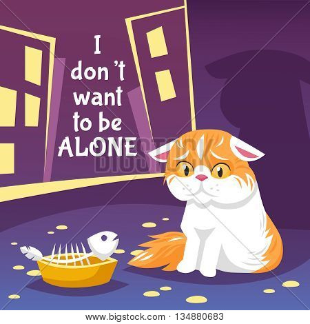 Homeless Cat Flat Background. Cat Alone Vector Illustration.  Cat In The Street Poster Design. Homeless Sad Cat Decorative Illustration.