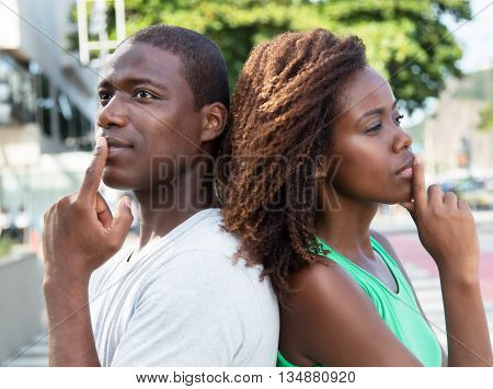 Thinking african american couple in the city