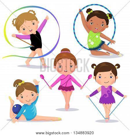 Vector set of rhythmic gymnastics cute girls