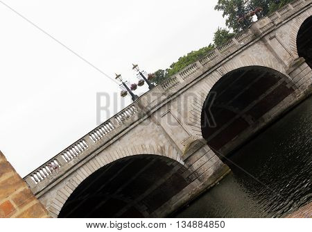Abstract River Thames Scene of The Bridge in Kingston Upon Thames Surrey London england