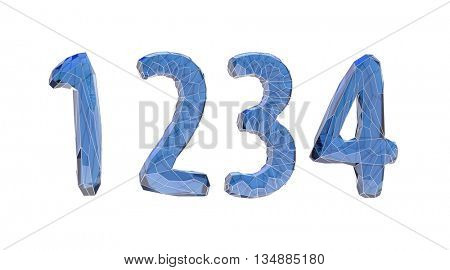 transparent crystal number set, one, two, three, four, 3d illustration